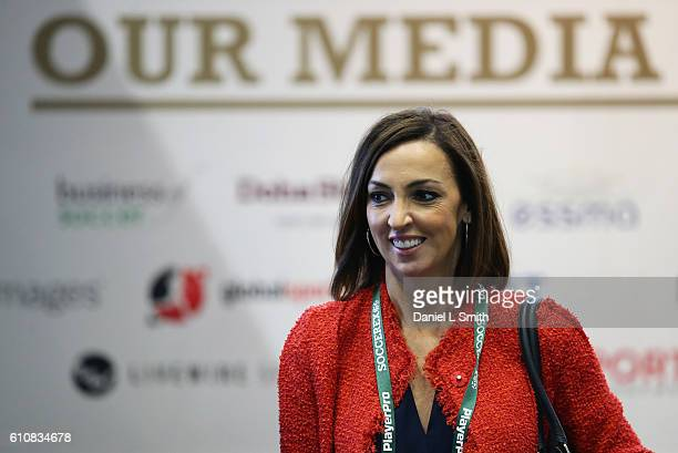 BBC presenter Sally Nugent attends day 3 of the Soccerex Global Convention 2016 at Manchester Central Convention Complex on September 28 2016 in...