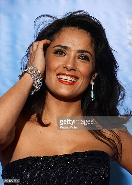 Presenter Salma Hayek poses in the press room during the 70th Annual Golden Globe Awards held at The Beverly Hilton Hotel on January 13, 2013 in...