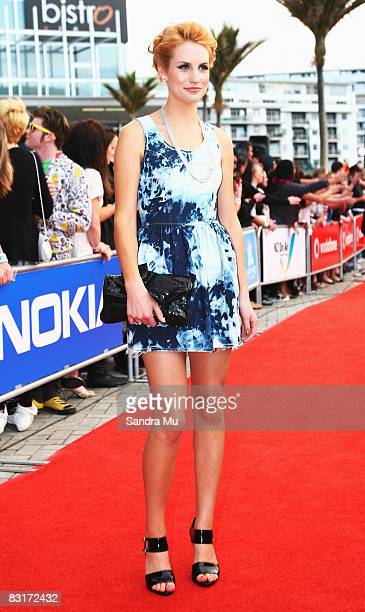 TV presenter Samantha Hayes arrives at the Vodafone New Zealand Music Awards 2008 at Vector Arena on October 8 2008 in Auckland New Zealand The 2008...
