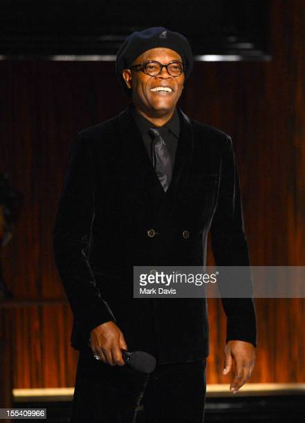 """Presenter Samuel L. Jackson speaks onstage at Spike TV's """"Eddie Murphy: One Night Only"""" at the Saban Theatre on November 3, 2012 in Beverly Hills,..."""