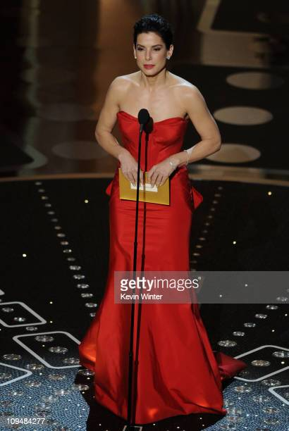Presenter Sandra Bullock speaks onstage during the 83rd Annual Academy Awards held at the Kodak Theatre on February 27 2011 in Hollywood California