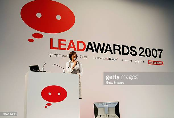 Presenter Sandra Maahn speaks during the LEAD Awards 2007 Symposium at the Deichtorhallen on February 28, 2007 in Hamburg, Germany.