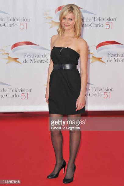 TV presenter Sandrine Corman arrives for the opening night of the 2011 Monte Carlo Television Festival held at Grimaldi Forum on June 6 2011 in...