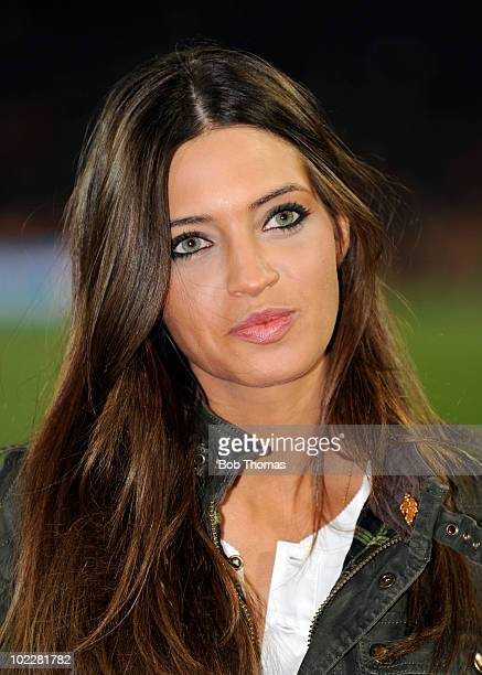 Presenter Sara Carbonero girlfriend of goalkeeper Iker Casillas of Spain before the start of the 2010 FIFA World Cup South Africa Group H match...