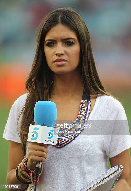 Presenter Sara Carbonero girlfriend of Iker Casillas of Spain attends the 2010 FIFA World Cup South Africa Group H match between Spain and...