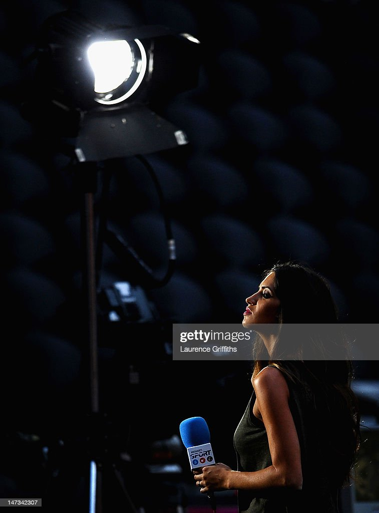 TV presenter Sara Carbonero looks on during during the UEFA EURO 2012 semi final match between Portugal and Spain at Donbass Arena on June 27, 2012 in Donetsk, Ukraine.