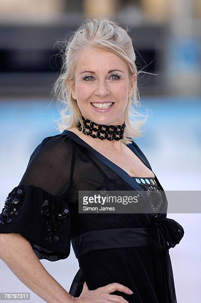 V presenter Sarah Greene take part in the Dancing on Ice Press launch in the National History Museum on January 07 2008 in London England