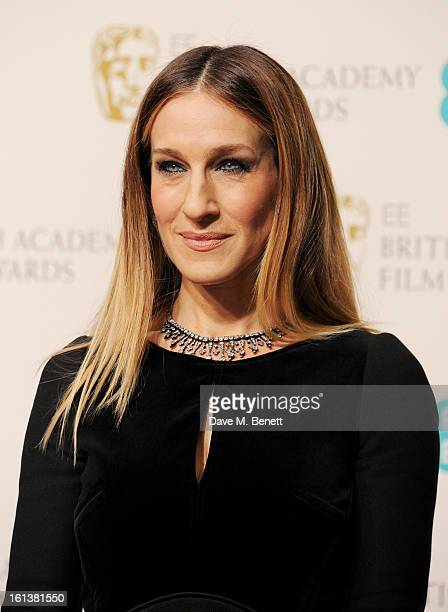 Presenter Sarah Jessica Parker poses in the Press Room at the EE British Academy Film Awards at The Royal Opera House on February 10 2013 in London...
