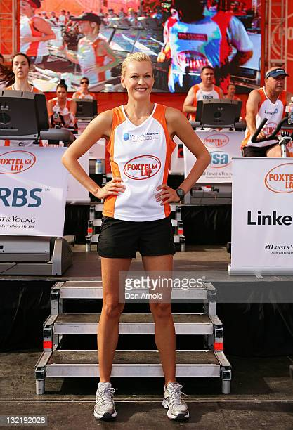 TV presenter Sarah Murdoch takes part in the Foxtel Lap in aid of the Murdoch Childrens Research Institute at Darling Harbour on November 11 2011 in...