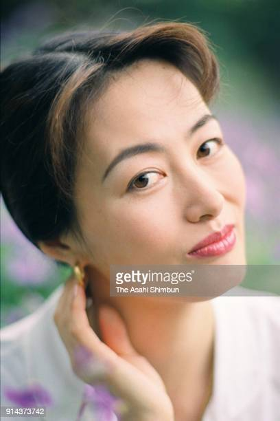 TV Presenter Satsuki Ariga poses for photographs during the Asahi Shimbun interview on April 21 1995 in Tokyo Japan