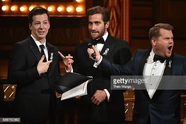 Presenter Sean Hayes and Jake Gyllenhaal speak onstage with host James Corden during the 70th Annual Tony Awards at The Beacon Theatre on June 12...
