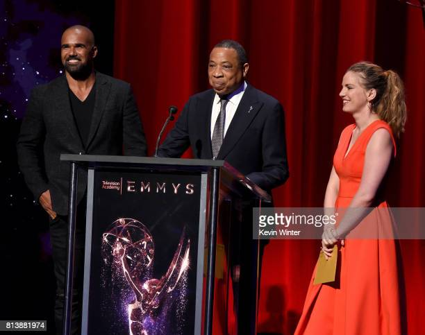 Presenter Shemar Moore Television Academy Chairman and CEO Hayma Washington and Presenter Anna Chlumsky speak onstage at the 69th Emmy Awards...