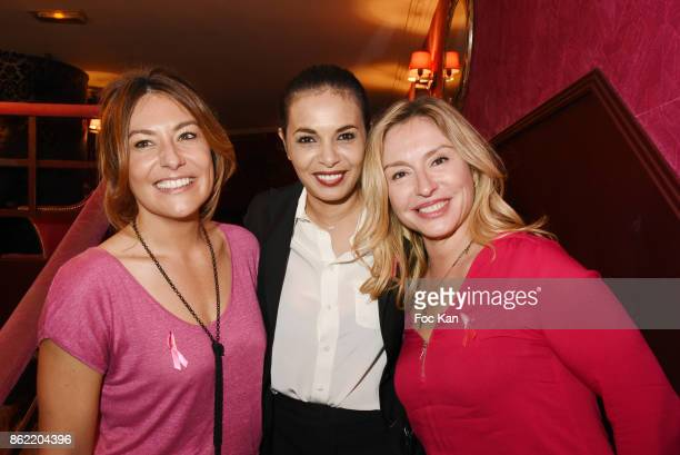 TV presenter Shirley Bousquet producer Saida Jawad and actress Jeanne Savary attend the 'Souffle de Violette' Auction Party As part of 'Octobre Rose'...