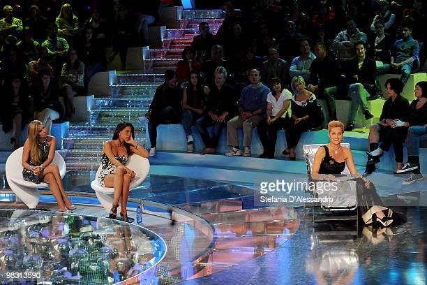 Presenter Simona Ventura Claudia Galanti and Loredana Lecciso attend 'L'Isola Dei Famosi' Italian Tv Show held at Rai Studios on April 7 2010 in...