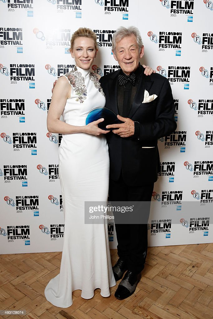 Presenter Sir Ian McKellen poses with the winner of the BFI Fellowship Award actress Cate Blanchett as they attend the BFI London Film Festival Awards at Banqueting House on October 17, 2015 in London, England.