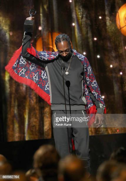 Presenter Snoop Dogg speaks about 2017 Inductee Tupac Shakur onstage at the 32nd Annual Rock & Roll Hall Of Fame Induction Ceremony at Barclays...