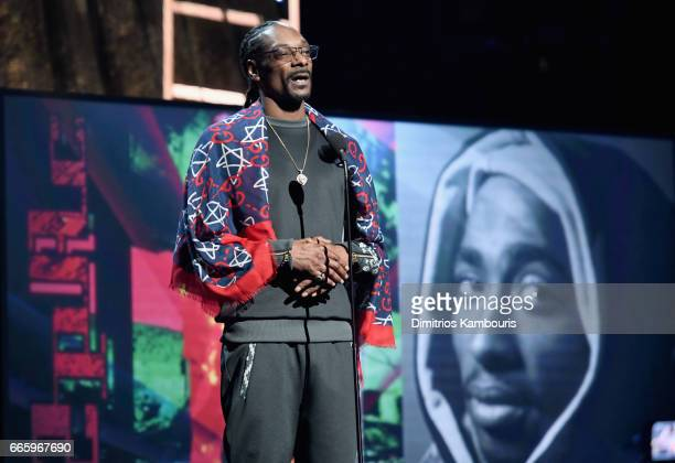 Presenter Snoop Dogg speaks about 2017 Inductee Tupac Shakur onstage at the 32nd Annual Rock Roll Hall Of Fame Induction Ceremony at Barclays Center...
