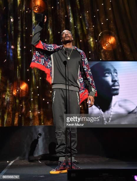 Presenter Snoop Dogg speaks onstage during the 32nd Annual Rock Roll Hall Of Fame Induction Ceremony at Barclays Center on April 7 2017 in New York...
