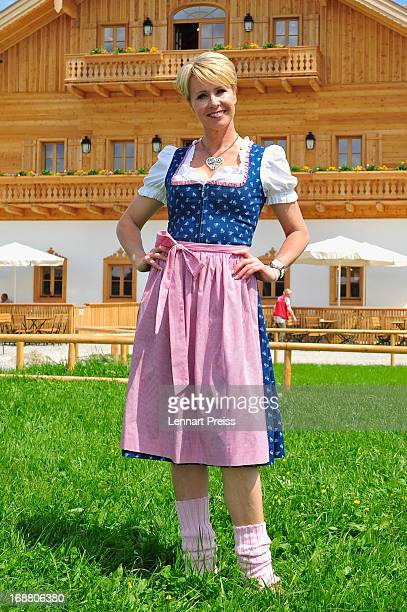 Presenter Sonja Zietlow poses during a photocall for the TV show 'Sonjas Welt der Tiere' at Gut Aiderbichl on May 15 2013 in Iffeldorf Germany