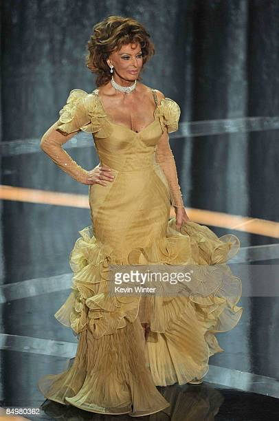 Presenter Sophia Loren presents the Best Actress award for The Reader during the 81st Annual Academy Awards held at Kodak Theatre on February 22 2009...