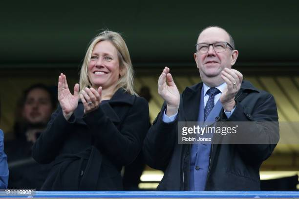 Presenter Sophie Raworth before the Premier League match between Chelsea FC and Everton FC at Stamford Bridge on March 08, 2020 in London, United...