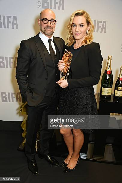 Presenter Stanley Tucci and Kate WInslet winner of the Variety Award pose at the Moet British Independent Film Awards 2015 at Old Billingsgate Market...