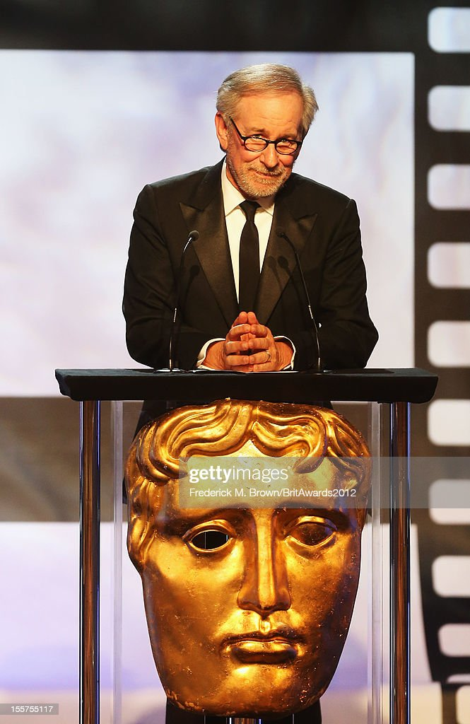 Presenter Steven Spielberg speaks onstage at the 2012 BAFTA Los Angeles Britannia Awards Presented By BBC AMERICA at The Beverly Hilton Hotel on November 7, 2012 in Beverly Hills, California.