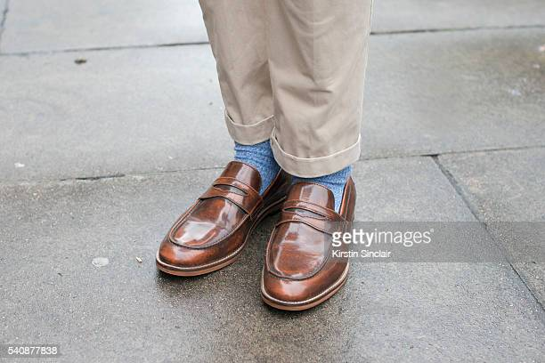 Presenter Stevie Kelly wears GH Bass shoes and Hilfiger Denim trousers from Italy on day 4 of London Collections Men on June 13 2016 in London...