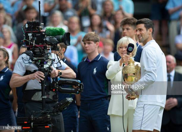 BBC presenter Sue Barker interviews Novak Djokovic of Serbia after his victory over Roger Federer of Switzerland in the Final of the Gentlemen's...