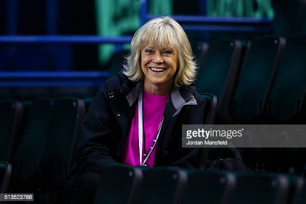 TV presenter Sue Barker watches on during a practice session ahead of the start of the Davis Cup tie between Great Britain and Japan at Barclaycard...