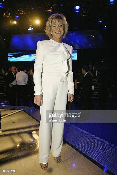 Presenter Sue Barkerposes during the BBC Sports Personality of the Year Awards held at the BBC Television Centre in London on December 8 2002