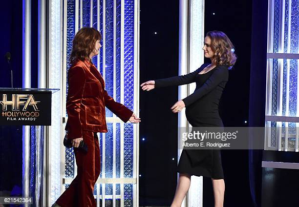 Presenter Susan Sarandon and actress Natalie Portman recipient of the 'Hollywood Actress Award' for 'Jackie' onstage during the 20th Annual Hollywood...