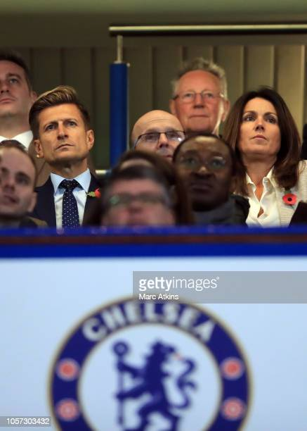 TV presenter Susanna Reid with Crystal Palace chairman Steve Parish during the Premier League match between Chelsea FC and Crystal Palace at Stamford...