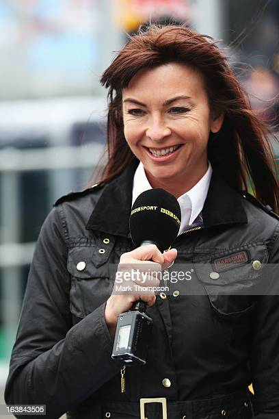 F1 presenter Suzi Perry is seen in the paddock during the weather delayed qualifying session for the Australian Formula One Grand Prix at the Albert...