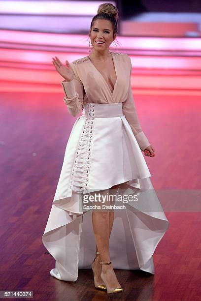 Presenter Sylvie Meis reacts during the 5th show of the television competition 'Let's Dance' at Coloneum on April 15 2016 in Cologne Germany