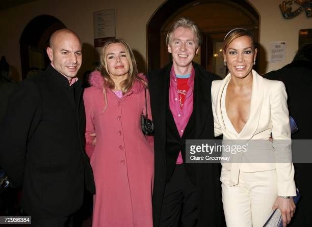TV presenter Tara PalmerTomkinson designer Philip Treacy and their guests arrive at the VIP performance of Cirque Du Soleil's 'Alegria' at Royal...