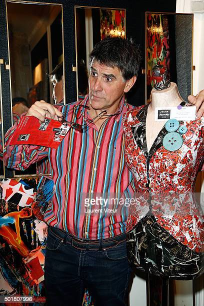 Presenter Tex attends 'Accords Croises' Anne Mondy's exhibition at Rue Bonaparte on December 17 2015 in Paris France