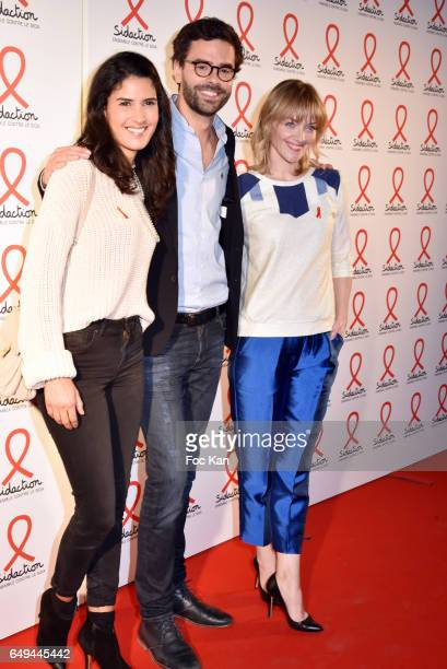 Presenter, Thomas Isle and Maya Lauque attend the Sidaction 2017 Launch Party : Photocall at Musee Branly on March 07, 2017 in Paris, France.