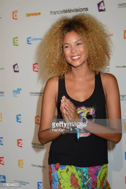 Presenter Tiga aka. Sophie Ducasse attends the 'Rentree France Televisions' : Photocall At Palais de Tokyo on August 27, 2013 in Paris, France.