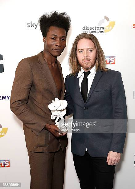 Presenter Tim Minchin and Benjamin Clementine winner of the Best Pop award for 'At Least For Now' at the The South Bank Sky Arts Awards at The Savoy...