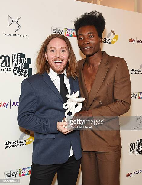 Presenter Tim Minchin and Benjamin Clementine winner of the Pop award for At Least For Now pose in the Winner's Room at the The South Bank Sky Arts...