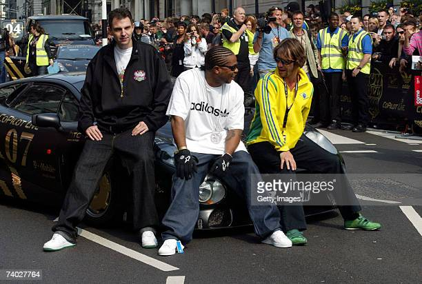 Presenter Tim Westwood Rapper Xzibit and musician Jay Kay prepare for Gumball 3000 race 2007 launch on April 29 2007 in London England The Rally...