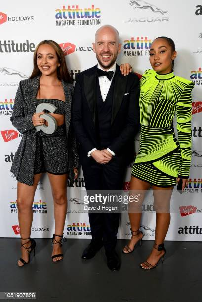 Presenter Tom Allen with winners of the 'Honorary Gay' award Jade Thirlwall and LeighAnne Pinnock of Little Mix pose in the winner's room at The...