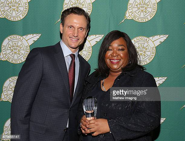 Presenter Tony Goldwyn and The Television Showman of the Year Award recipient Shonda Rhimes backstage at the 51st Annual ICG Publicists Awards held...