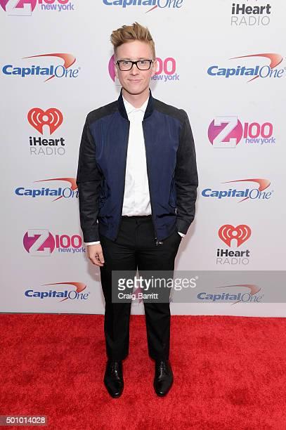 Presenter Tyler Oakley attends Z100's Jingle Ball 2015 at Madison Square Garden on December 11 2015 in New York City