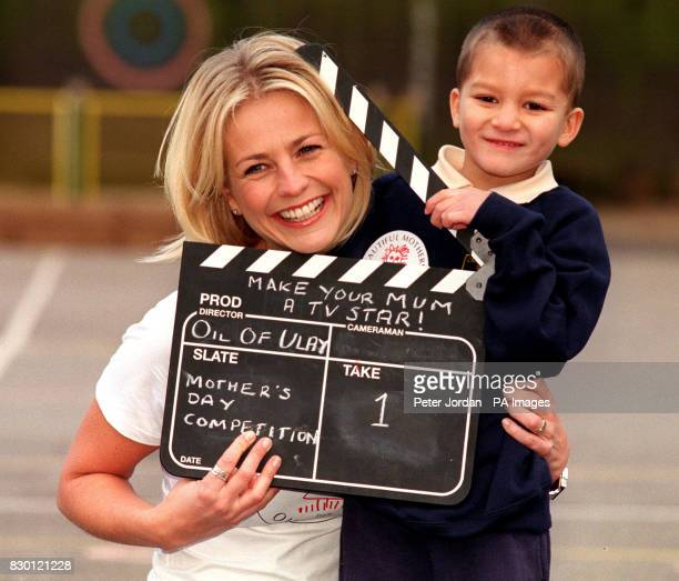 TV presenter Ulrika Jonsson with Joseph Ryle from Christ Church primary school in Regents Park London She urged children to turn their mothers into...