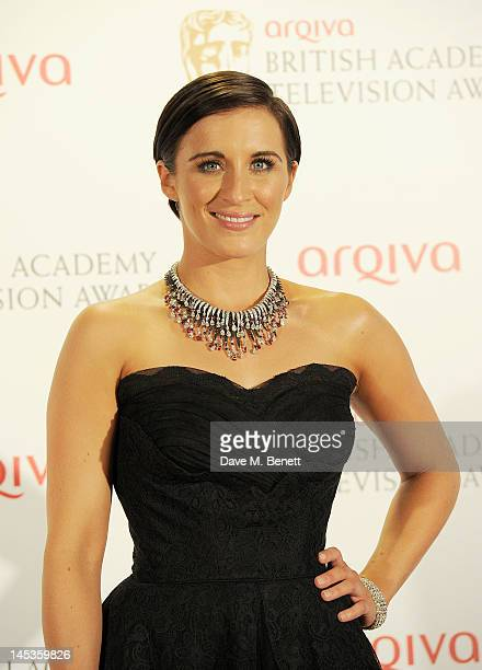 Presenter Vicky McClure poses in front of the winners boards at the Arqiva British Academy Television Awards 2012 held at Royal Festival Hall on May...