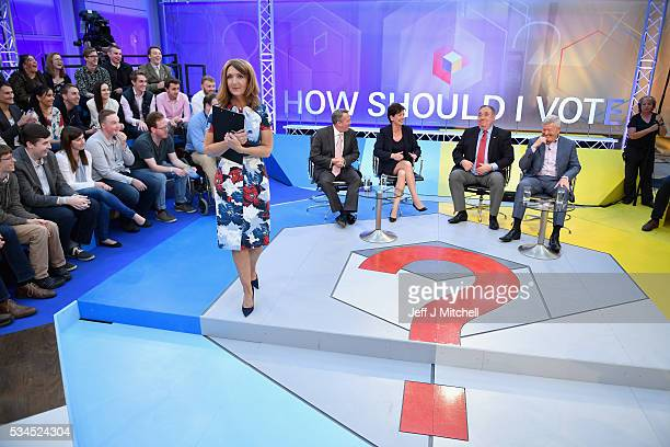 Presenter Victoria Derbyshire hosts of How Should I Vote The EU Debate poses with members of the panel Liam Fox Diane James Alex Salmond and Alan...