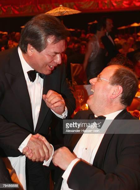 TV presenter Waldemar Hartmann and German Finance Minister Peer Steinbrueck attend the 2008 Sports Gala ' Ball des Sports ' at the RheinMain Hall on...