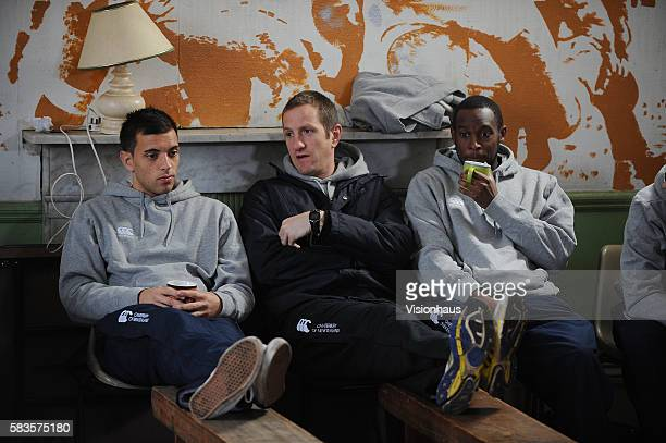 """Presenter Will Greenwood chats to two of the participants during filming of the Sky Sports 1 programme """"School of Hard Knocks. Presented by former..."""